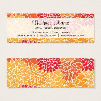 ダリアの花、花びら、花-オレンジ赤 スキニー名刺