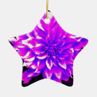 ダリアのpupleか薄紫の調子 陶器製星型オーナメント