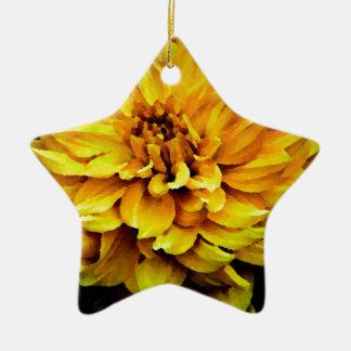 ダリア-新婚旅行の黄色 陶器製星型オーナメント