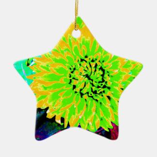 ダリア、明るい黄色、ティール(緑がかった色)、青い緑 陶器製星型オーナメント