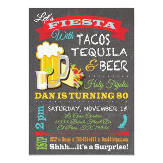 ダンのためのタコス、テキーラおよびビール 12.7 X 17.8 インビテーションカード