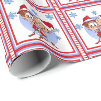 ダンサーのカップルのクリスマスのプレゼントの覆い ラッピングペーパー