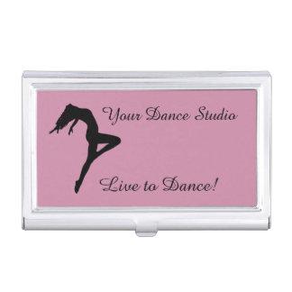 ダンサーのシルエットの名前入りなピンク 名刺入れ