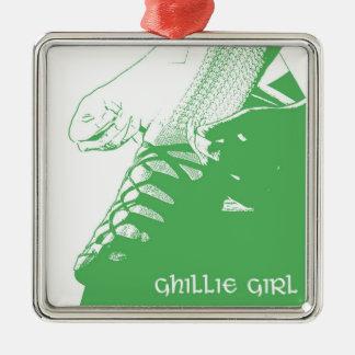ダンサーのGhillieの女の子のケリーのアイルランドの緑 メタルオーナメント