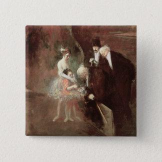 ダンサー、c.1925 (キャンバスの油) 5.1cm 正方形バッジ
