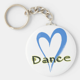 ダンスの青のハート キーホルダー