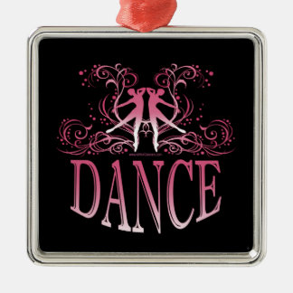 ダンススクロール優れた正方形のオーナメント(上がりました) メタルオーナメント