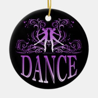 ダンススクロール磁器のオーナメント(紫色) セラミックオーナメント