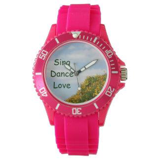 ダンス愛腕時計のケシの花草原を歌って下さい 腕時計