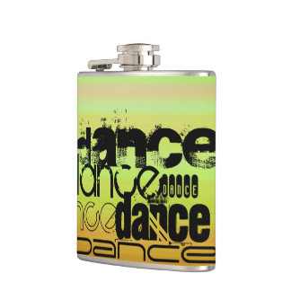 ダンス; 鮮やかな緑、オレンジ、及び黄色 フラスク