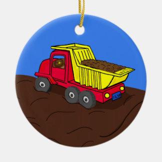 ダンプトラックの赤くおよび黄色の漫画の芸術 セラミックオーナメント