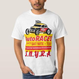 ダンベリーの公平な高速自動車道路のRacearenaの印のロゴの黄色 Tシャツ