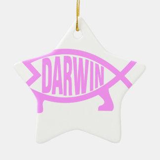 ダーウィンのピンクの魚 セラミックオーナメント