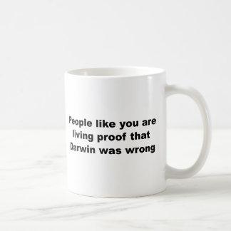 ダーウィンの侮辱のスローガン! コーヒーマグカップ