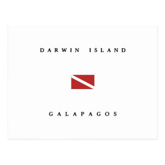 ダーウィンの島のガラパゴスのスキューバ飛び込みの旗 ポストカード