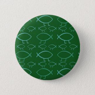 ダーウィンの魚(緑及び青) Pinボタン 缶バッジ