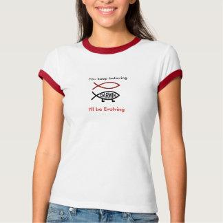 、ダーウィンfish_prismatic_redの信じることを…保ちます tシャツ