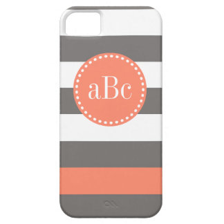 ダークグレーおよび珊瑚のモノグラムの場合 iPhone SE/5/5s ケース