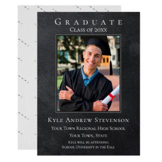 ダークグレーのグランジな卒業の写真カード カード