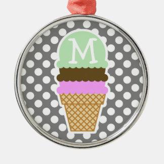 ダークグレーの水玉模様; アイスクリームコーン メタルオーナメント