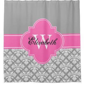 ダークグレーの白いLGのダマスク織#3 CB1IRのショッキングピンクのモノグラム シャワーカーテン
