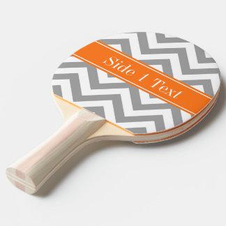 ダークグレーの白LGシェブロンのカボチャ名前のモノグラム 卓球ラケット