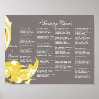ダークグレーエレガントで暗く及び上品な花模様-黄色 ポスター