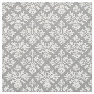 ダークグレー、白いパターンダマスク織#3 Size6 ファブリック