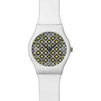 ダークグレー、黒く、黄色のイカットのダイヤモンド 腕時計