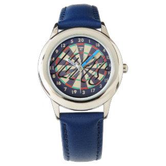 ダート盤の中心点のロゴ、子供の青い革腕時計 腕時計