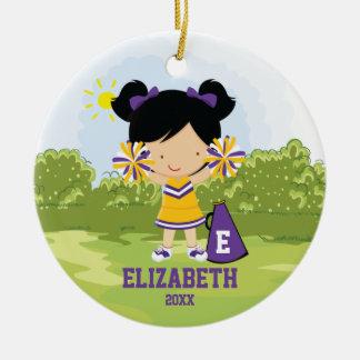 チアリーダーの女の子のクリスマスのオーナメントの紫色の金ゴールド セラミックオーナメント