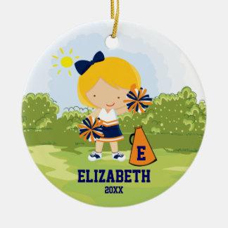 チアリーダーの女の子のクリスマスのオーナメントの青いオレンジ セラミックオーナメント