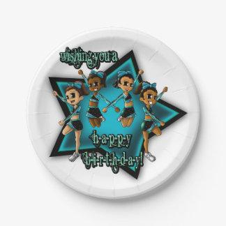 チアリーダーの誕生日の紙皿 ペーパープレート