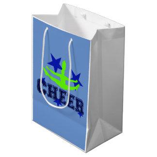 チアリーダーの青および緑のギフトバッグ ミディアムペーパーバッグ