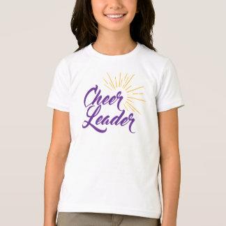 チアリーダーのTシャツ-紫色及び金ゴールド Tシャツ
