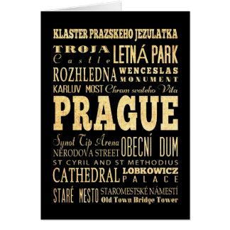 チェコスロバキア共和国のタイポグラフィの芸術のプラハ都市 カード
