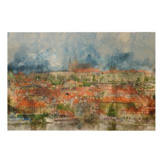 チェコスロバキア共和国のプラハ城 ウッドウォールアート