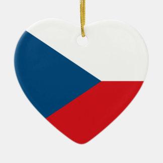 チェコスロバキア共和国の旗のハートのオーナメント セラミックオーナメント