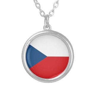 チェコスロバキア共和国の旗- Českáのvlajka シルバープレートネックレス