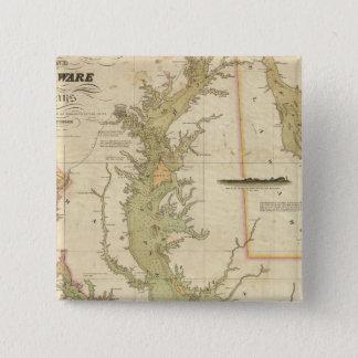 チェサピークおよびデラウェア湾の図表 5.1CM 正方形バッジ