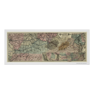 チェサピーク及びオハイオ州の鉄道地図1873年 ポスター