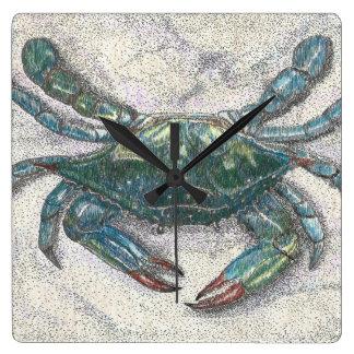 チェサピーク湾の青カニの柱時計 スクエア壁時計