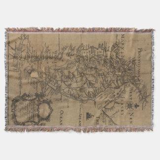 チェサピーク湾(1778年)のヴィンテージの地図 スローブランケット