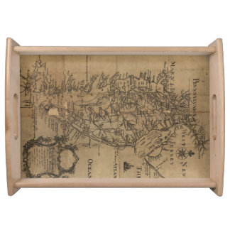 チェサピーク湾(1778年)のヴィンテージの地図 トレー