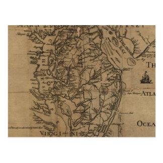 チェサピーク湾(1778年)のヴィンテージの地図 ポストカード
