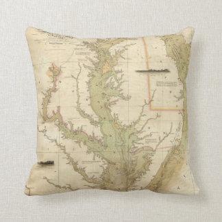 チェサピーク湾(1840年)のヴィンテージの地図 クッション
