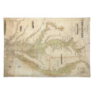 チェサピーク湾(1840年)のヴィンテージの地図 ランチョンマット