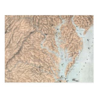 チェサピーク湾(1861年)のヴィンテージの地図 ポストカード