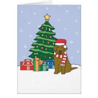 チェサピーク・ベイ・レトリーバーおよびクリスマスツリー カード