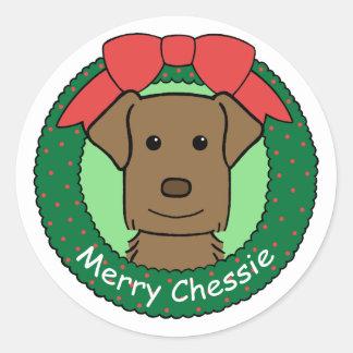 チェサピーク・ベイ・レトリーバーのクリスマス ラウンドシール